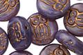 Czech Glass Opaque Bronzed Amethyst Owl Coin 14mm