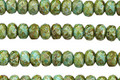 Czech Glass Green Turquoise Picasso Fire Polished Rondelle 3x5mm