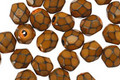 Czech Fire Polished Glass Brown Round Snake Beads 6mm