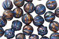 Czech Glass Bronze w/ Blue Luster Melon Round 6mm