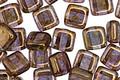 CzechMates Glass Transparent Gold Smokey Topaz 2-Hole Tile 6mm