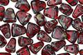 Czech Glass Siam Ruby Picasso 2-Hole Nib-Bit 5x6mm