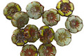 Czech Glass Mossy Trail Picasso Mix Hibiscus Coin 7mm
