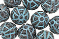 Czech Glass Matte Jet w/ Turquoise Wash Ancient Carving Round 11mm