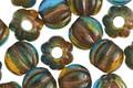 Czech Glass Rainforest w/ Copper Wash Large Hole Melon Round 8mm
