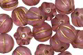 Czech Glass Desert Rose w/ Gold Melon Round 8mm