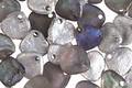 Czech Glass Matte Textured Storm Cloud w/ Silver & AB Finish Rose Petal 8x7mm