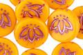 Czech Glass Pumpkin w/ Pink Lotus Coin 14mm