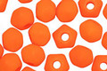Czech Glass Bright Neon Orange English Cut Bead (large hole) 6x8mm