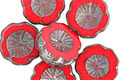 Czech Glass Red Hot Picasso Hibiscus Flower 14mm