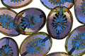 Czech Glass Blueberry Muffin Picasso w/ Blue Oval Star Window 14x10mm