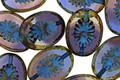 Czech Glass Blueberry Muffin Picasso w/ Blue Oval Star Window 14x10mm