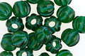 Czech Glass Emerald w/ Turquoise Large Hole Melon Round 8mm