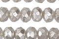 Czech Glass Crystal w/ Mercury Glass Finish Fire Polished Rondelle 6x8mm