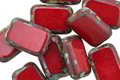 Czech Glass Scarlet Red Picasso Rectangle 12x8mm