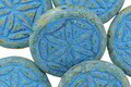 Czech Glass Etched Honey Picasso w/ Turquoise Flower of Life Geometry Coin 19mm