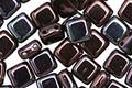 CzechMates Glass Luster Metallic Amethyst 2-Hole Tile 6mm