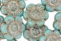 Czech Glass Light Turquiose w/ Silver Wild Rose Coin 13mm