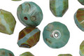 Czech Glass Opaque Turquoise Mix Picasso Saucer 7x10mm