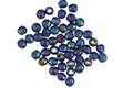 Czech Glass Matte Iris Blue Fire Polished Round 2mm