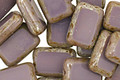 Czech Glass Opaque Amethyst Picasso Rectangle 12x8mm