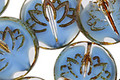 Czech Glass Crystal/Alice Blue Picasso Lotus Coin 18mm