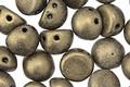 CzechMates Glass Metallic Suede Gold 2-Hole Cabochon 7mm