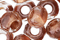 Czech Glass Rustic Rose w/ Copper Lining Large Hole Fire Polished Rondelle 8x12mm