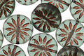 Czech Glass Matte Bronzed Prairie Green Flower Coin 12mm