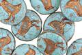 Czech Glass Bronzed Turquoise Bird Coin 12mm