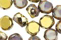 Czech Glass Lavender Opal Picasso w/ Gold Faceted Table Cut Oval 8x7mm