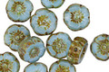 Czech Glass Sky Blue Picasso Hibiscus Coin 8-9mm