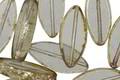 Czech Glass Smoke w/ Mercury Glass Picasso Horse Eye 18x8mm