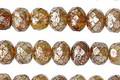 Czech Glass Amber Mercury Fire Polished Rondelle 5x7mm
