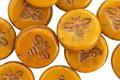 Czech Glass Bronzed Dandelion Bee Coin 12mm