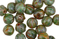 Czech Glass Forest Green Picasso Melon Round 6mm