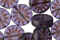 Czech Glass Matte Amethyst w/ Bronzed Flower Coin 12mm