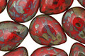 Czech Glass Opaque Red Picasso Teardrop 12x16mm