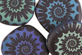 Czech Glass Laser Etched Ammonite on Jet w/ Rainbow Finish Freeform Coin 20mm