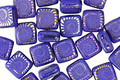 Czech Glass Laser Etched Ammonite on Royal Blue Opaque w/ Rainbow Finish 2-Hole Tile 6mm