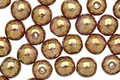 Czech Glass Luster Opaque Gold/Smoky Topaz Round 6mm