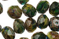 Czech Glass Calypso Green Fire Polished Rondelle 6x9mm