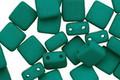 Czech Glass Dark Neon Emerald 2-Hole Tile 6mm