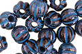 Czech Glass Dark Bronze w/ Blue Large Hole Melon Round 8mm