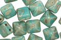 Czech Glass Turquoise Light Picasso 2-Hole Pyramid Stud Bead 8mm