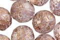Czech Fire Polished Glass Matte Textured White Opal w/ Bronze Flecks Round 12mm