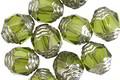 Czech Glass Olivine w/ Silver Lantern 10x8mm