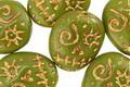 Czech Glass Avocado w/ Gold Wash Sugar Skull 16x13mm