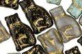 Czech Glass Bronzed Storm Cloud Meow Mix Cat 15x9mm
