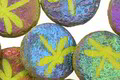 Czech Glass Laser Etched Dragonfly on Matte Textured Wasabi w/ Rainbow Finish Coin 17mm